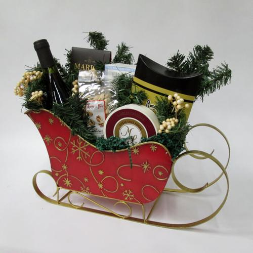 Christmas Sleigh Wine Gift Basket