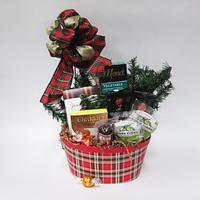 Seasonal Plaid Traditional Gift Basket
