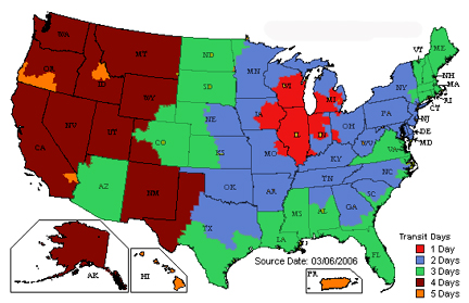 Shipping Zones and Times